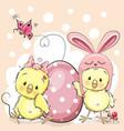 cute cartoon chickens vector image vector image
