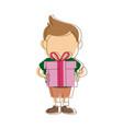 cute little boy holding gift box fun vector image