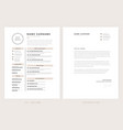 cv resume and cover letter template - elegant vector image vector image
