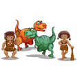 Dinosaurs and cave people vector image vector image