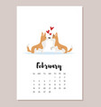 february 2018 year calendar page vector image vector image