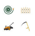 flat icon garden set of lawn mower cutter wooden vector image vector image