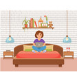 freelancer happy young woman working on the bed vector image vector image