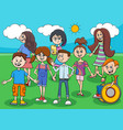 funny kids and teens cartoon characters group vector image