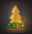golden fir-tree with christmas decorative fir vector image vector image