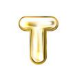 golden foil balloon inflated alphabet symbol t