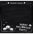 Halloween party chalkboard menu vector image vector image