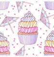 hand drawn seamless pattern with rainbow cupcake vector image vector image