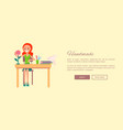handmade web banner with woman sitting at table vector image