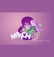 happy womens day 8 march card paper cut style vector image vector image