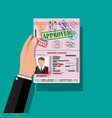 id card in hand identity card national id card vector image