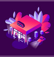 isometric building with greenery night sxene in vector image vector image