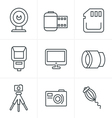 Line Icons Style Photography Icons Set Design vector image vector image
