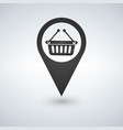 map pointer with shopping basket icon vector image