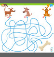maze game with cartoon dogs and bone vector image vector image