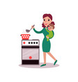 mother cooking at the kitchen with baby in her vector image