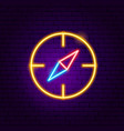 navigation compass neon sign vector image vector image