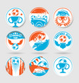 nine circle football stickers set vector image