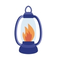 Oil table fire lamp lighting up flat vector image