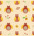 owl hand drawn seamless pattern autumn background vector image vector image