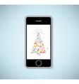 phone and christmas tree icon for christmas card vector image