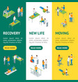 physiotherapy people 3d isometric view banner vector image vector image