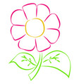 pink flower drawing on white background vector image vector image