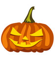ripe pumpkin with carved eyes and mouth attribute vector image