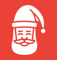 santa claus face glyph icon new year christmas vector image vector image