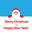 Santa peeping from behind the text vector image vector image