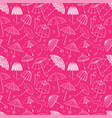 seamless pattern with umbrellas on pink background vector image vector image