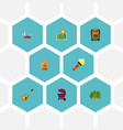 set of camp icons flat style symbols with map pin vector image vector image