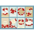 Set of summer hand drawn floral vintage cards vector image