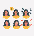 set womans emotions facial expression vector image vector image