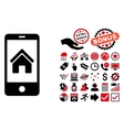 Smartphone Homepage Flat Icon with Bonus vector image vector image