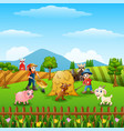 the farmers was working on the farm vector image