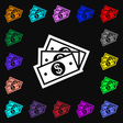 Us dollar icon sign Lots of colorful symbols for vector image vector image