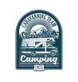 vintage badge with classic family camper car vector image vector image