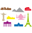 World monuments silhouettes vector image vector image