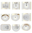 Bathroom wash basin set 9 top view for interior vector image
