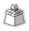 gift box ribbon wrapped linea shadow vector image