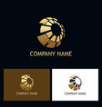 3d gold sphere digital technology logo vector image vector image