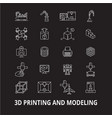 3d printing and modeling editable line icons vector image