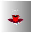 a cup of coffee and a saucer in the shape of heart vector image