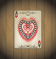 Ace hearts poker cards old look varnished wood vector image vector image