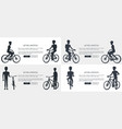 active lifestyle set of posters depicting cyclists vector image