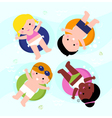 Beautiful smiling summer kids on water vector image