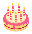 birthday cake candle icon isometric 3d style vector image