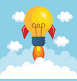 bulb light rocket start up vector image