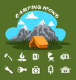 camping icons with summer forest cartoon style vector image